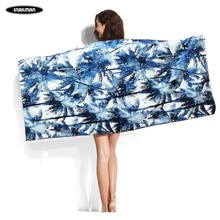 Palm tree Surfing Compact Beach Towel Microfiber Travel Fitness Surfboard surf