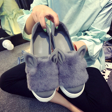 2017 New Fashion  Footwear Female Autumn Winter Women Shoes  Round Toe Loafer Flat Fur Cartoon Ears Casual Shoes Moccasins