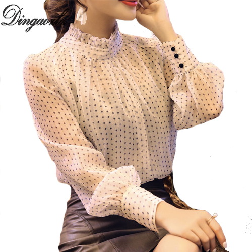 Dingaozlz Elegant Chiffon shirt 2018 Spring New fashion Women blusa all-match Female Tops Casual Office lady Blouse