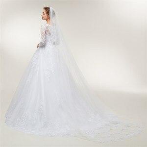 Image 4 - Fansmile Lange Mouwen Vestido De Noiva Lace Toga Trouwjurk 2020 Trein Maatwerk Plus Size Bruids Tule Mariage FSM 603T