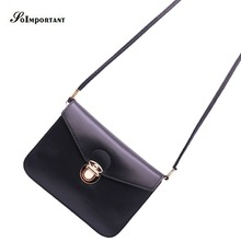 High Quality PU Leather Women Messenger Bags Women Solid Covers Lock Business Shoulder Bags 2016 Female Mini Cards Phone Bags
