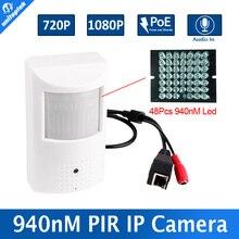 PIR ESTILO H.264 720 P 1080 P 2MP Cámara IP de 1MP de Seguridad CCTV cámara Con POE Visión Nocturna Invisible 940nm IR 10 M + Entrada de Audio P2P View