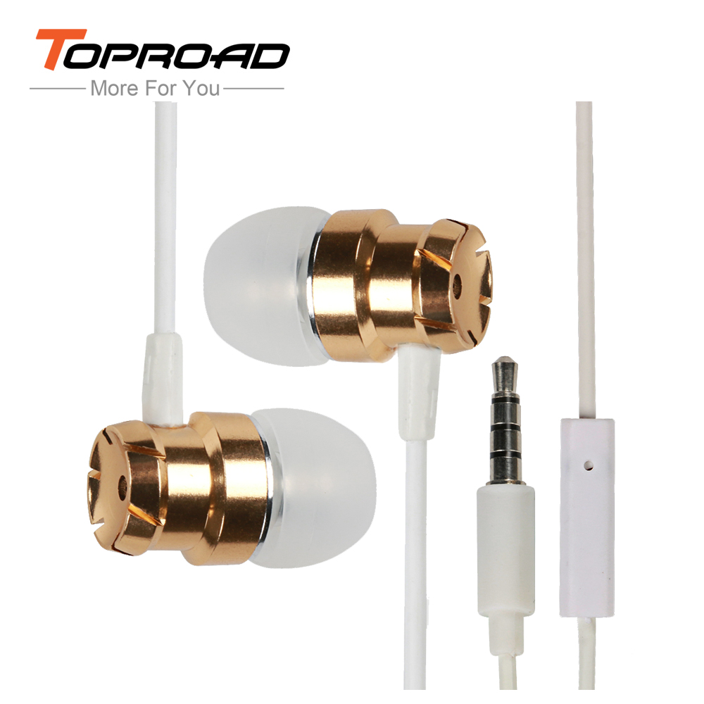 TOPROAD In-Ear Subwoofer Metal Earbuds Earphone with Microphone Handfree 3.5mm Wired Headset Auriculares Headphone for Phones PC