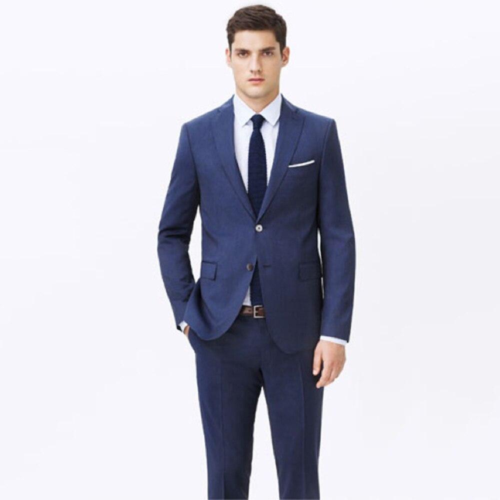 カスタムメイド男性のためのスーツを測定、仕立てのクラシックブルーのスーツ、オーダーメイドのタキシード (ジャケット + パンツ + ネクタイ + P スクエア) 13102101  グループ上の メンズ服 からの スーツ の中 1