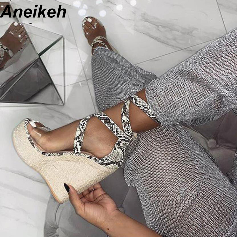 Aneikeh Summer 2020 PU Classic Gladiator Sandals Shoes Transparent Serpentine Hollow Out Wedges Heel Pumps Sandals Boots Apricot