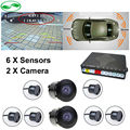 Double CPU Car Video Parking Sensor Reversing Radar Front Rear 6 Sensors Front Rear Camera, Voice Alarm and Digital Distance