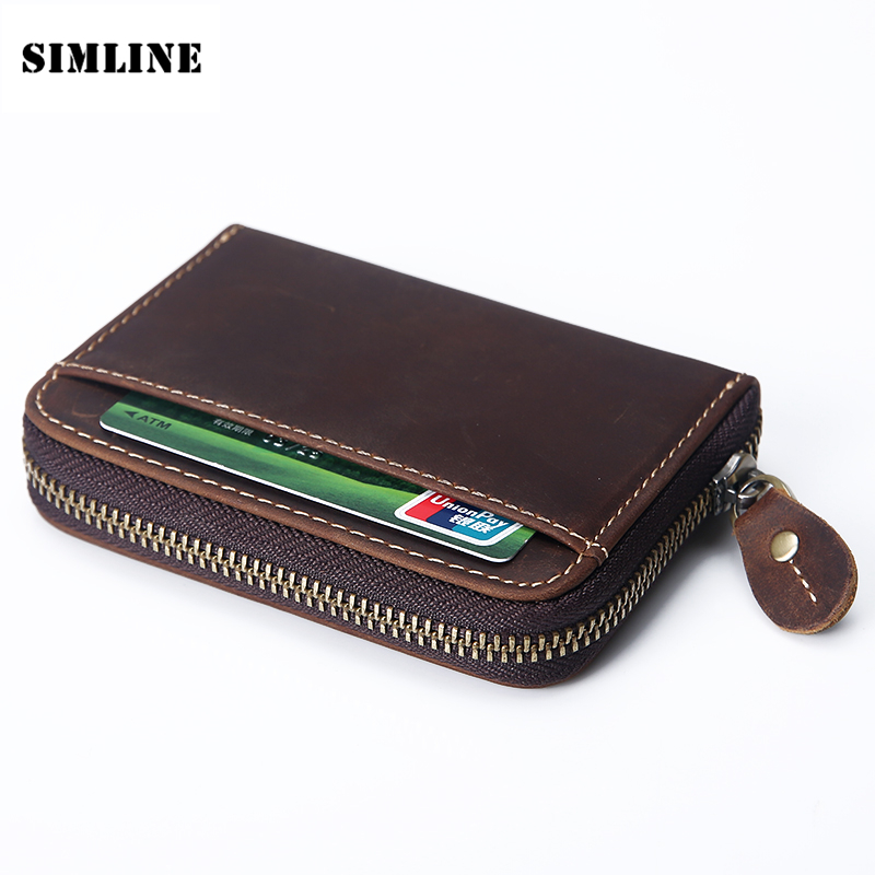 SIMLINE Vintage 100% Genuine Crazy Horse Leather Cowhide Mens Men Short Zipper Wallet Wallets Coin Purse Card Holder For Man цена и фото