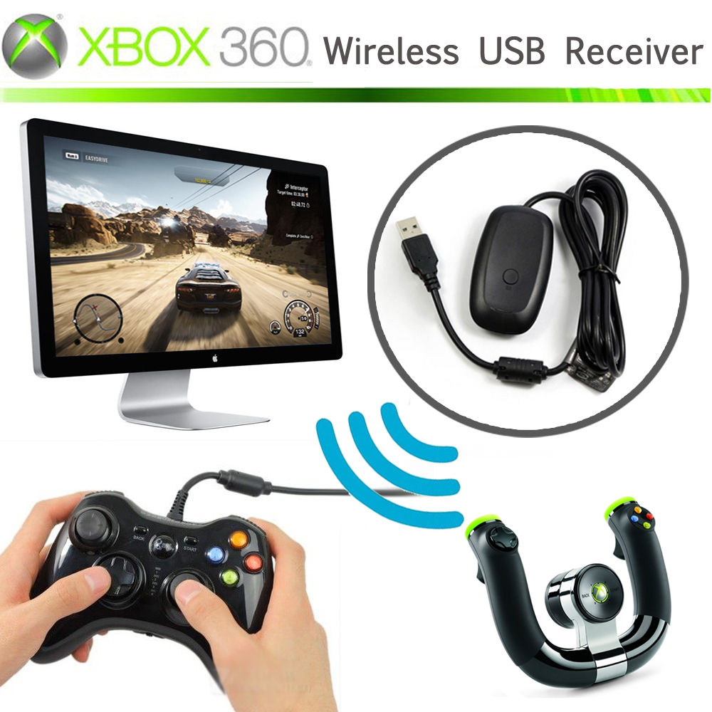Black White PC Wireless Controller Gaming USB Receiver Adapter For Microsoft XBOX 360 For Windows XP/7/8/10 ...