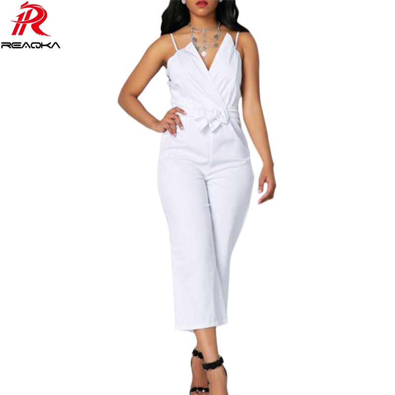 Reaqka White Sexy Off Shoulder Rompers Womens Jumpsuit 2017 Summer Bodysuit Women Bandage Overalls Calf Length