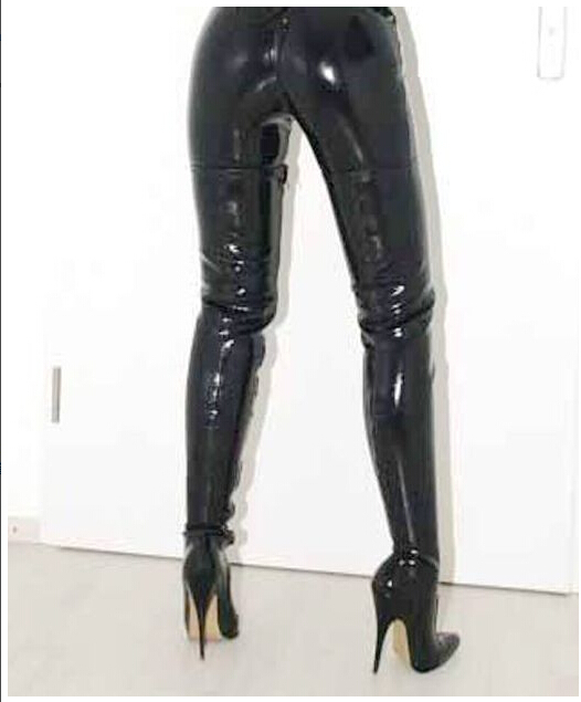 2889467024c2c Shoe factory wholesale 12 cm pointed black patent leather high heel boots  thigh boots female boots 12 cm high heeled boots-in Women's Pumps from Shoes  on ...