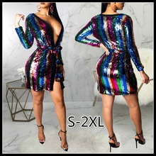 Womens Fashion Blue Deep V Neck Sexy Irregular Sequin Nightclub Cardigan Dress with Belt sexy for Party Women Gift S-2XL