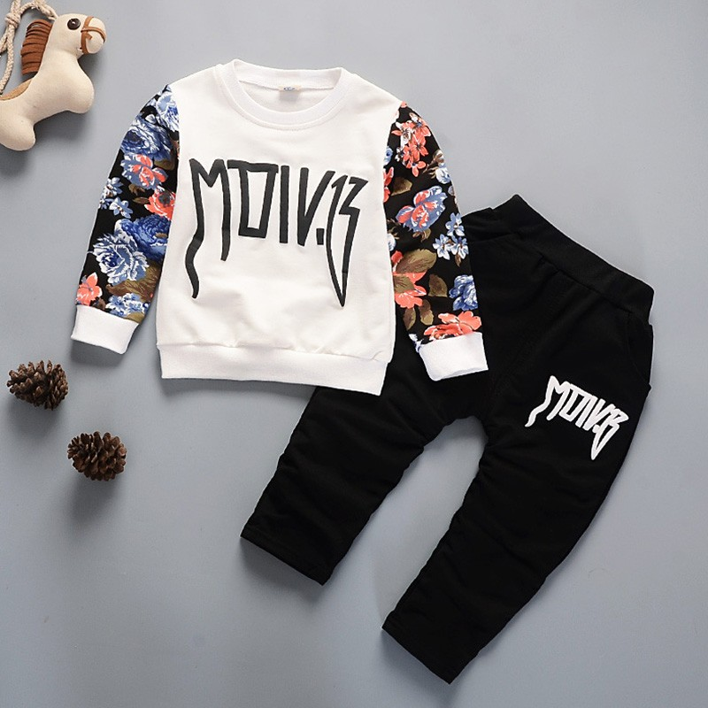 Kids Winter Clothes Floral Print Long-sleeve T-shirt Set Comfortable Warm Boys Children Clothing Girl Winter Clothes For kids fashion baby girl t shirt set cotton heart print shirt hole denim cropped trousers casual polka dot children clothing set