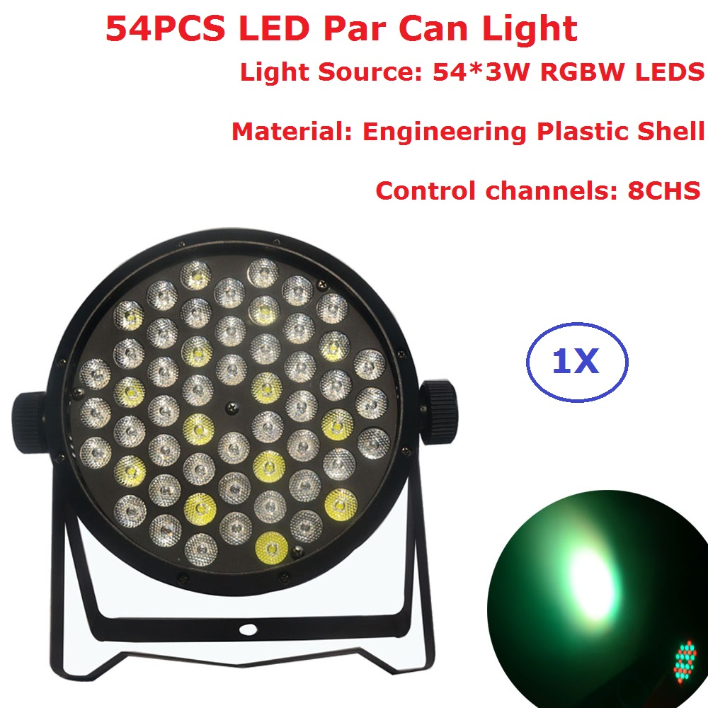 Newest LED Par Light 54X3W RGBW 4 Colors LED Flat Par Cans Strobe DMX Controller Party Disco Bar Strobe Dimming Effect Projecor