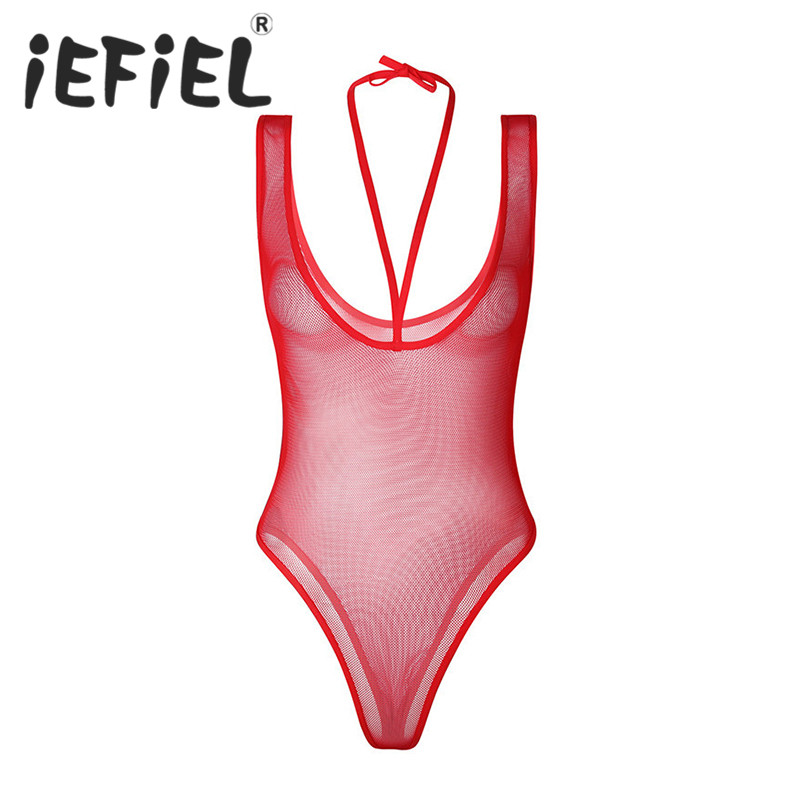 iEFiEL Women Female Sexy Lingerie Night Erotic Teddies Bodysuit Sleeveless Strappy Halter Fishnet See Through Nightwear Clubwear