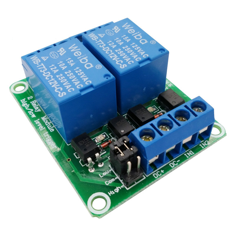 2 channel relay module 5V/12V/24V high and low level trigger relay control with optocoupler for PLC automation equipment control fc 16 b 1 channel 24v relay module blue
