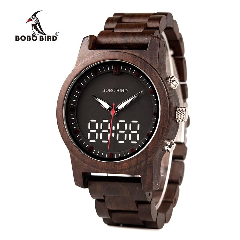 Erfinderisch Bobo Vogel Männer Uhr Led Dual Display Uhr Holz Digitale Armbanduhr Holz Band Relogio Masculino J-r02