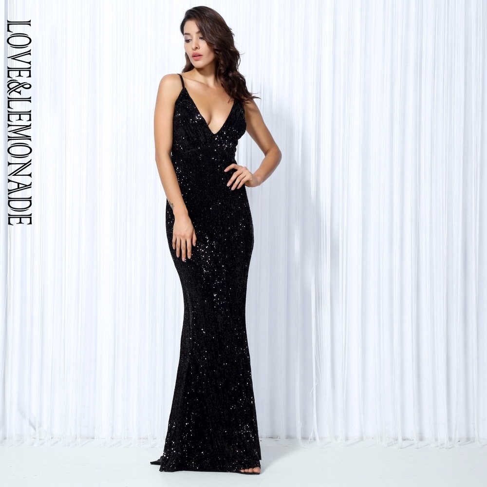 d14c50cb36f ... Love   Lemonade черное эластичное длинное платье с v-образным вырезом и  пайетками сзади ...