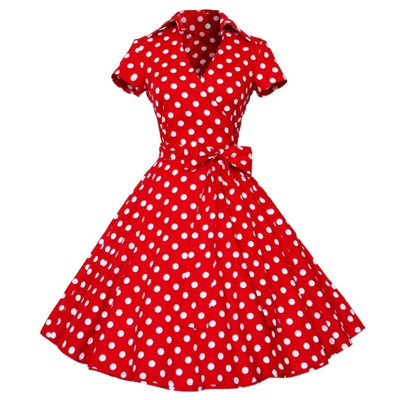 Woman Retro Dresses 2017 Audrey Hepburn 1950s 60s Rockabilly Polka Dot Bow Pinup Ball Grown Party Robe Plus Size Vestidos