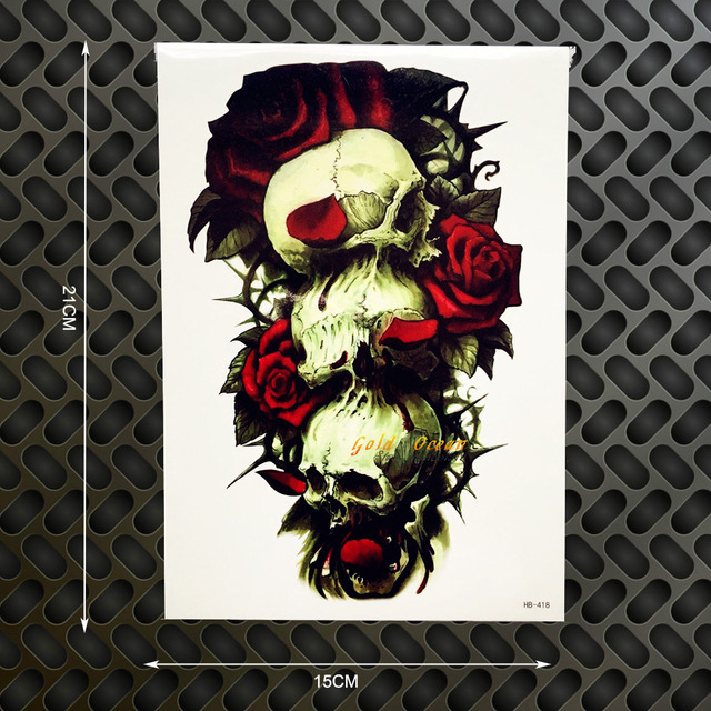 1pc New Designs Rose Skull Head Flash Removable Tattoo Fake Body Art
