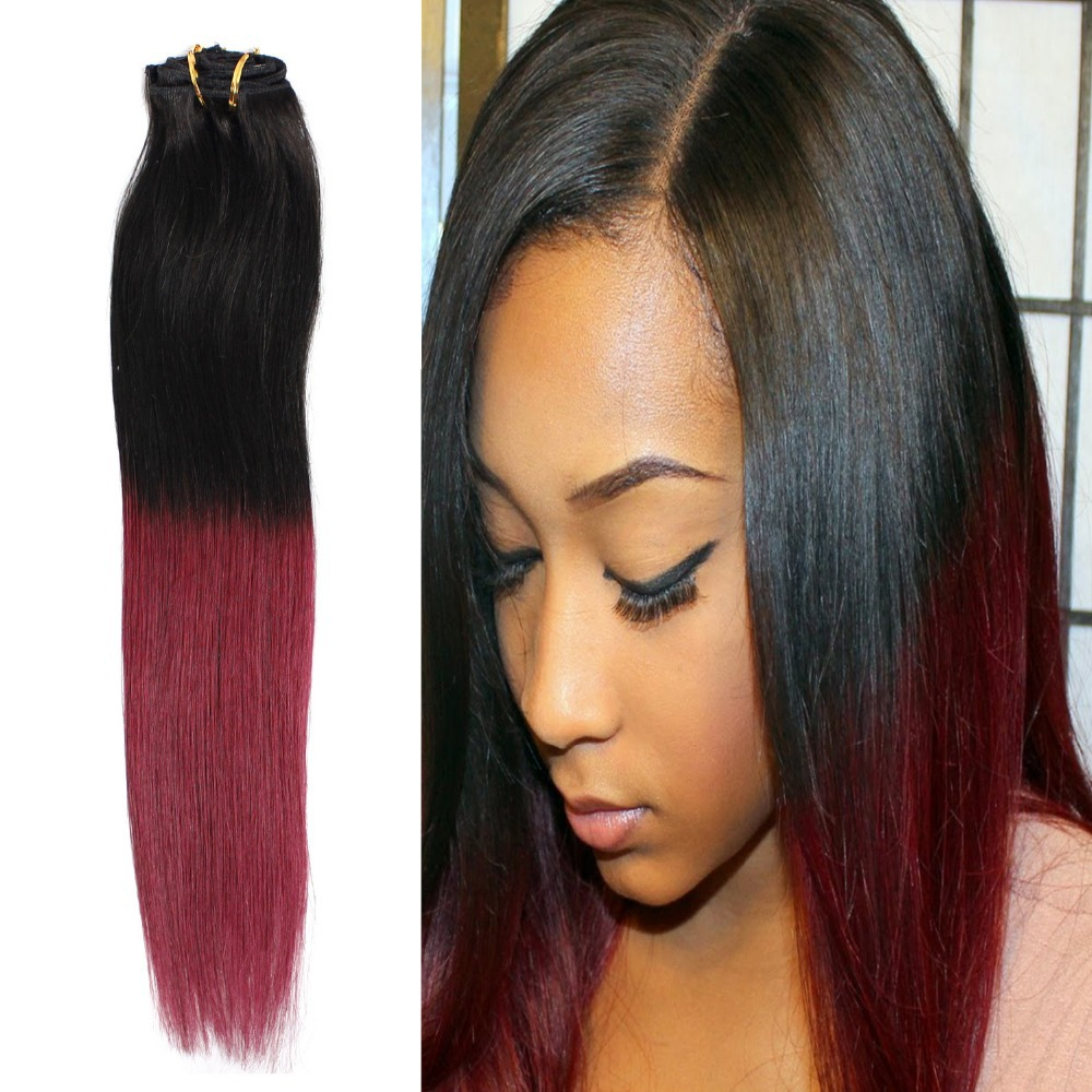 18 Ombre Hair Natural Black To Burgundy Red Naturel Straight