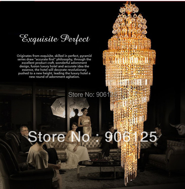 Phube Lighting Empire Gold Spiral Crystal Chandelier Staircase ...