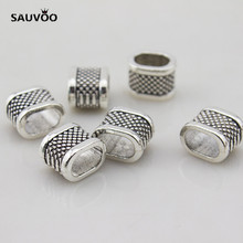 Sauvoo Vintage Antique Silver Color 20pcs/lot Zinc Alloy Square European Charm Spacer Beads Hole 7*10.5mm For Jewelry DIY F1936