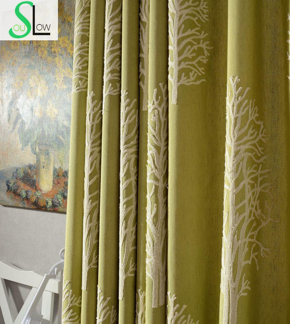Luxury bathroom curtains - New Poplar Trees Cotton Multicolor Curtain French Window Plant Embroidered Sheer Curtains Cortinas Living Room For Children