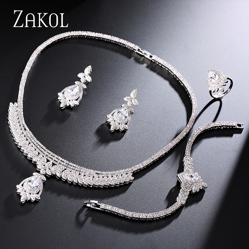 ZAKOL Luxury Design White Gold Plated Leaf Shape Women Trendy Jewelry Set 4 Color Crystal For