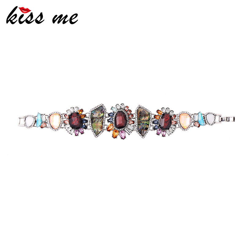 KISS ME Multi Color Geometric Flower Natural Stone Charm Bracelet New Design Hand Chain Fashion Jewelry cool design multi layed chain bracelet for women