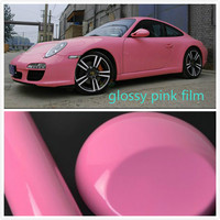600mm X 1520mm Glossy Pink Vinyl Wrap Car And Motorcycle Sticker Adhesive Air Release Bubble Sticker