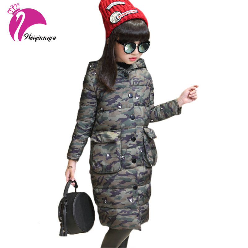 New Brand Girls Cotton Coat Winter Fashion Long Sleeve Hooded Camouflage Jacket Teenagers Casual Warming Zipper Outwear Clothes
