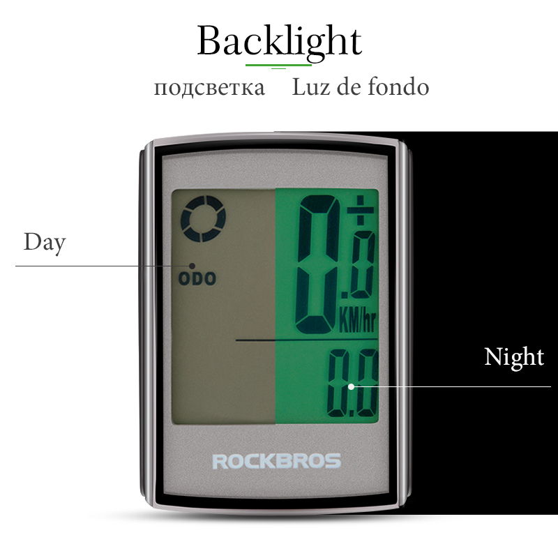 Image 3 - ROCKBROS Waterproof Bicycle Computer LCD Backlight Stopwatch Wireless Cycling Bike Computer Speedometer Odometer MTB Accessories-in Bicycle Computer from Sports & Entertainment