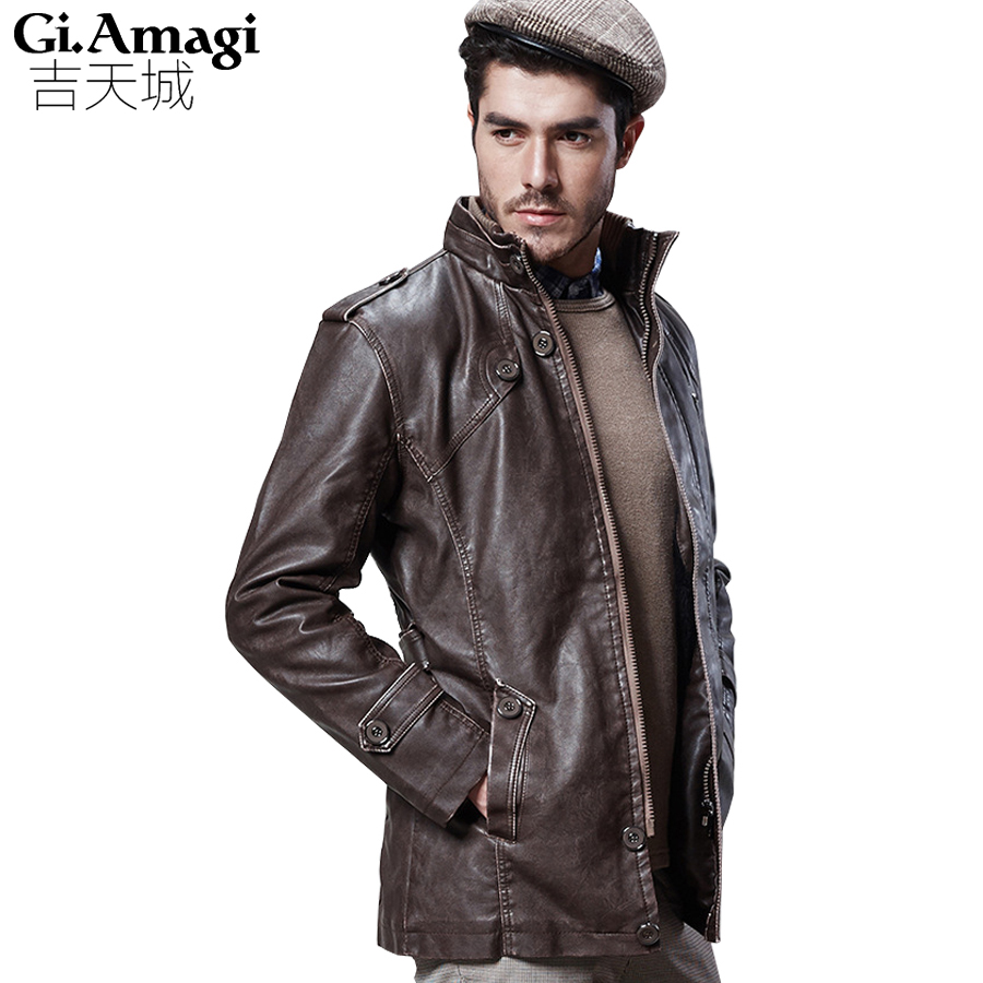 Men 's Winter Jacket Warm Casual Pu Leather Standing Collar Plus velvet Men Coat washing machine Jackets For Male Big Size