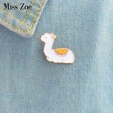 Bebê lhama esmalte pino bonito animal emblema broches presente dos desenhos animados ícones jaqueta casaco vestido botão pino presente para a menina crianças filha