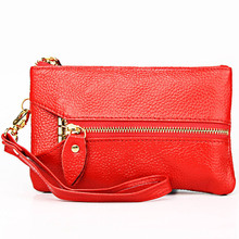 Fashion Women Casual Clutch Bag Genuine Cow Leather Zero Wallet Ladies Coin Purse Pocket Soft Zipper Key Case Gift