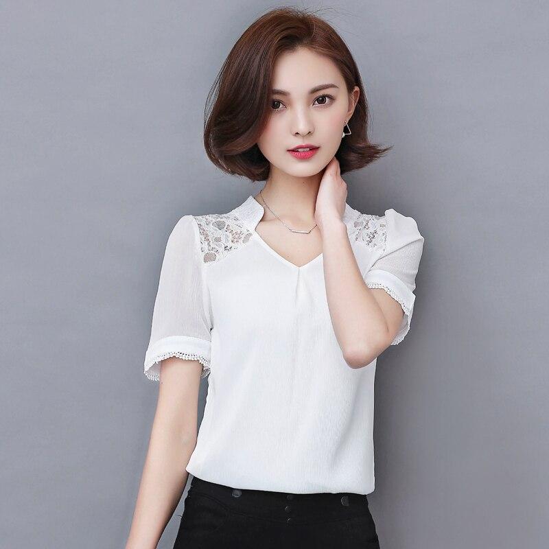 2017 newest springwomen blouse solid color lace chiffon clothes women plus size female fashion blouse 707f 25