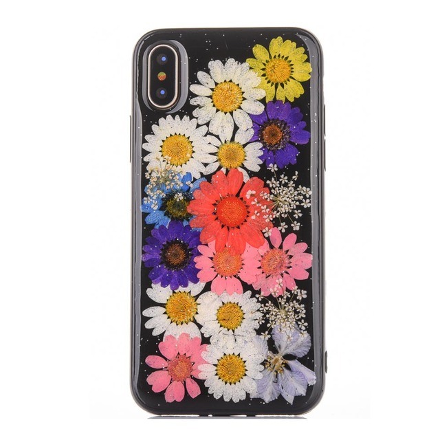 pretty nice 40c91 aba6d US $5.99 |Black Flower Cases For iPhone X Real Pressed Flower Skin Case For  iPhone X Rubber Dried Floral Handmade Fundas Capa For Girls -in Fitted ...