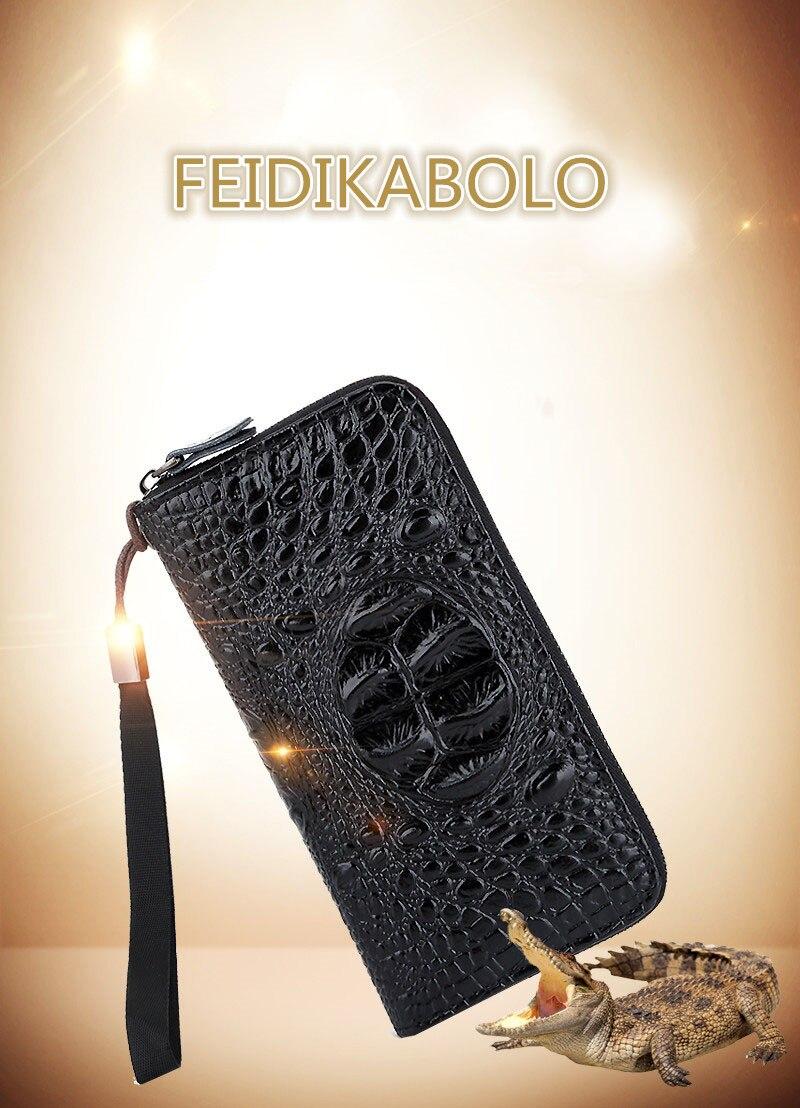 81a3e37f5 Feidikabulo nueva cartera de cocodrilo para hombre, carteras largas de  cuero PU, cartera para hombre, carteras de mano para hombre bolsas