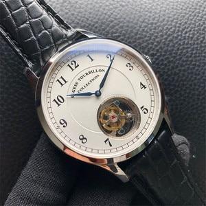 Image 2 - Top Merk Luxe Tourbillon Mens Mechanische Horloges Mode Krokodil Lederen Mannen Tourbillon Horloge 50M Waterdicht 1963