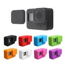 GoPro aksesuarları için yumuşak silikon koruma kılıf cilt + Lens kapatma başlığı git Pro Hero 7 6 5 siyah baskı eylem kamera