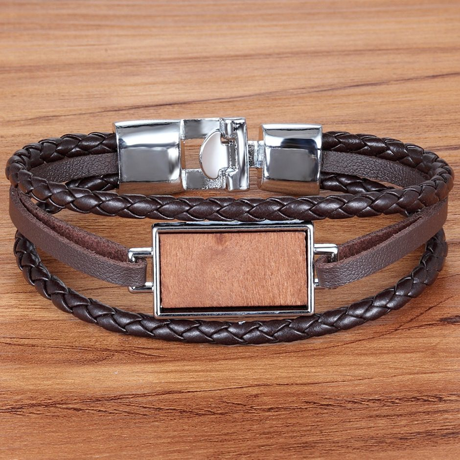 TYO PU Leather Bracelet Stainless Steel Clasp Black/Brown Color Wood Stone Rectangle Pattern Fashion Jewelry Birthday Party Gift