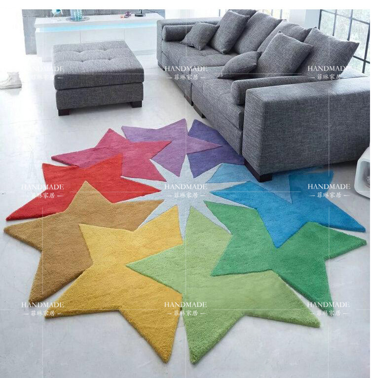 Colored stars and creative personality irregular shaped coffee table mats bedroom living room sofa bed thick