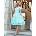 Mint Lace Short Bridesmaid Dresses with Cap Sleeves A Line Keen Length Wedding Formal Women Wear Bridal Gown Vestido madrinha
