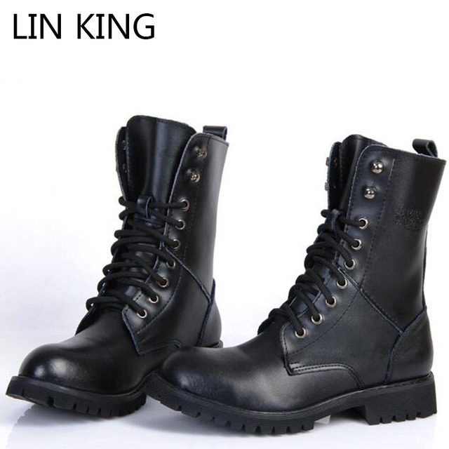 LIN KING Men Motorcycle Boots Lace-up Genuine Leather Martin Boots Solid Square Heel Platform Round Toe Thick Sole Combat Boots