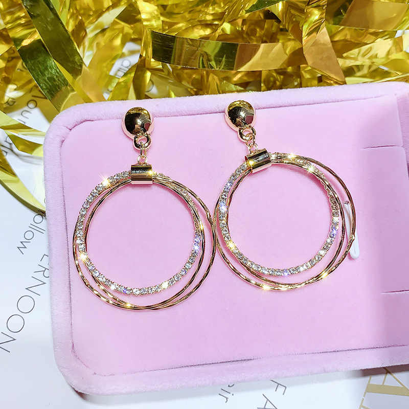 FYUAN Fashion Round Geometric Drop Earrings for Women Bijoux Gold Silver Color Circle Rhinestone Dangle Earrings Party Jewelry