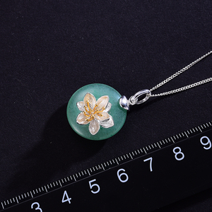 Image 3 - Lotus Fun Real 925 Sterling Silver Natural Aventurine Green Gemstone Fine Jewelry Lotus Whispers Pendant for Women without Chain