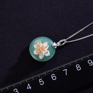 Image 3 - Lotus Spaß Echt 925 Sterling Silber Natürliche Aventurin Grün Edelstein Feine Schmuck Lotus Whispers Anhänger für Frauen ohne Kette