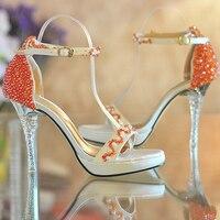 Vrouwen open teen hoge hakken platform schoenen oranje kralen ultra Zomer Jurk schoenen Bruids Schoenen Bruidsmeisje Schoenen