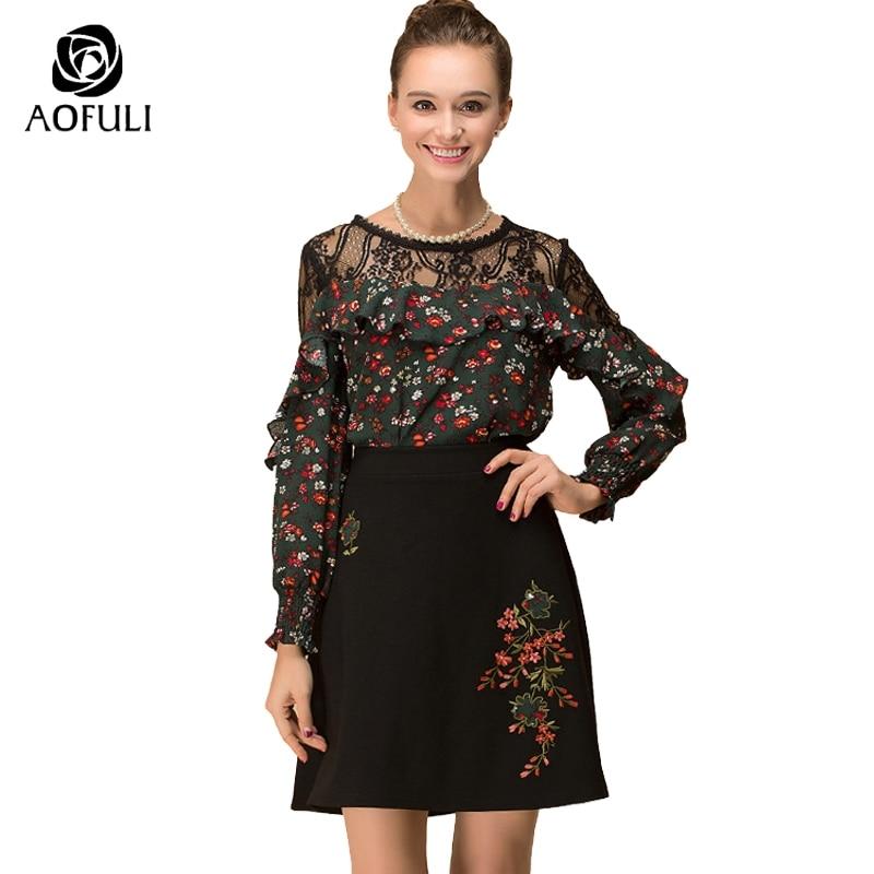 AOFULI L 3xl 4xl 5xl Plus Size Office Lady Skirt Suit Floral Printed Lace Up Blouse