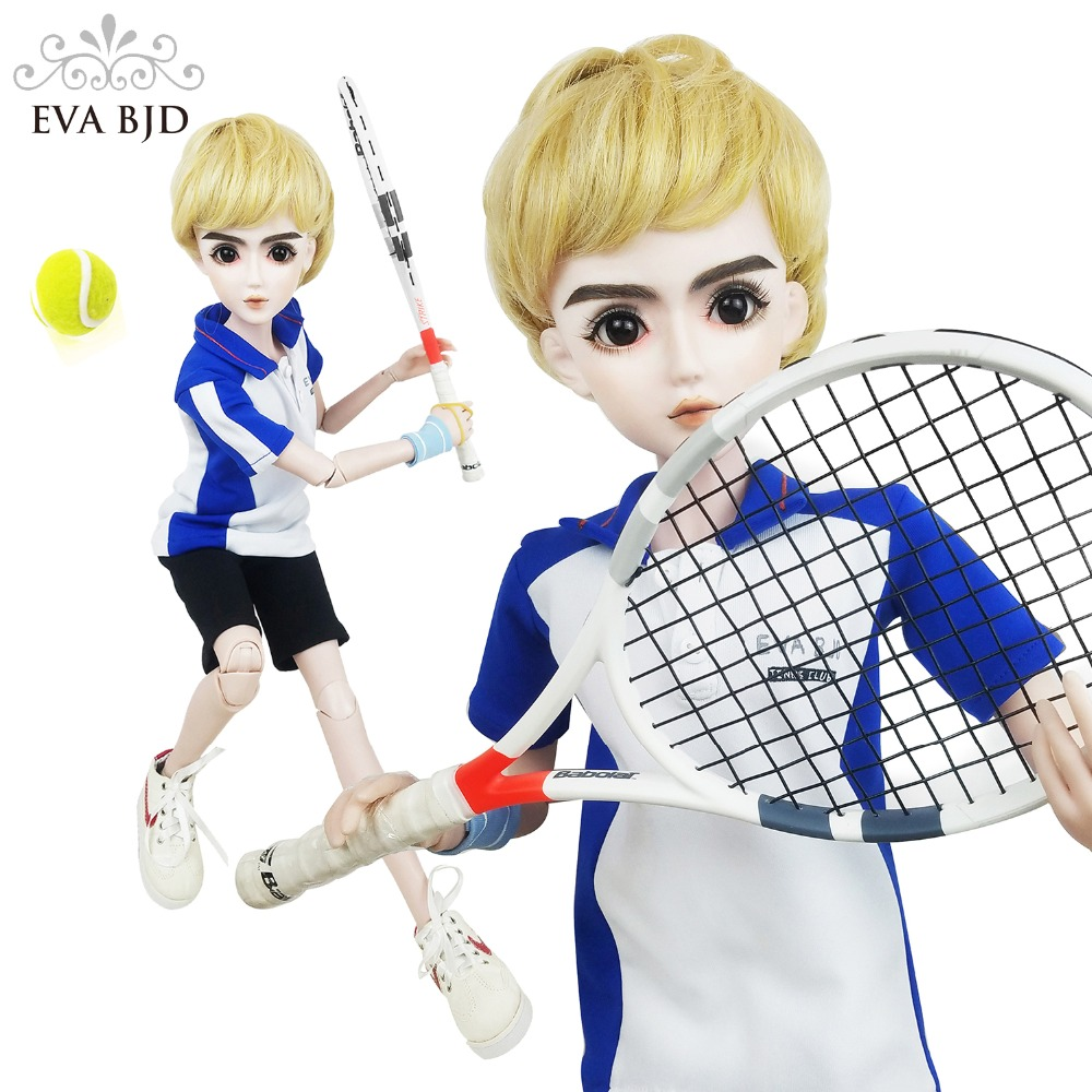 24 24 inch Full Set SD Doll 60cm 1/3 Tennis Player Boy jointed dolls + Gift Tennis racket + Gift ball + Gift Shoes Sport Figure 24 full set bjd doll devil manager men chinese manager ball jointed dolls sd doll toy boyfriend boy gift for boy children